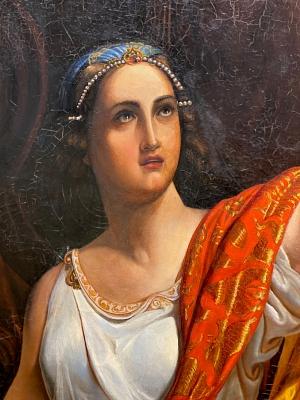 Detailansicht während der Restaurierung des Gemäldes.